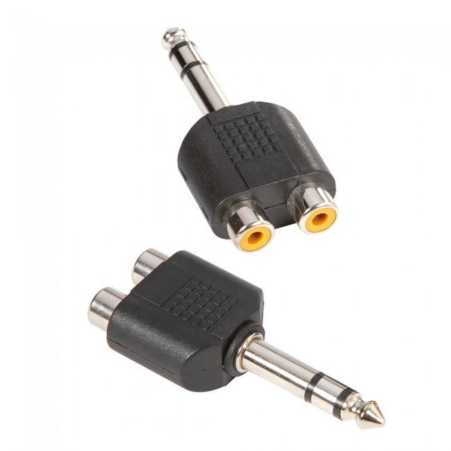 ADAM HALL 7549   Adaptador en Y de 2 RCA hembra a Jack 6,3 mm macho estéreo