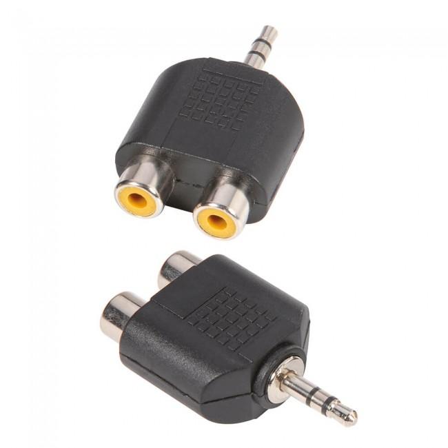 ADAM HALL 7550 | Adaptador en Y de 2 RCA hembra a Minijack 3,5 mm macho estéreo
