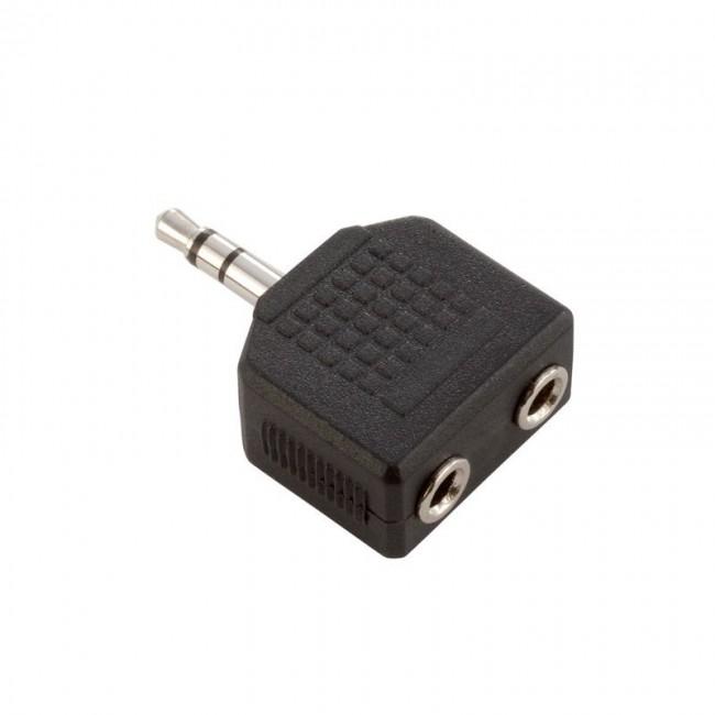 ADAM HALL 7556 | Adaptador en Y de 2 Minijacks hembra estéreo a Minijacks macho estéreo