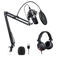 MAONO AU-A04H   Kit de micrófono USB con juego de auriculares de estudio