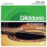 DADDARIO EZ890   Cuerdas para Guitarra acústica super Light