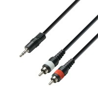 Adam hall K3YWCC0300   Cable de Audio de Minijack 3,5 mm estéreo a 2 RCA macho 3 m
