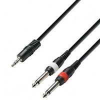 ADAM HALL K3YWPP0100   Cable de Audio de Minijack 3,5 mm estéreo a 2 Jacks 6,3 mm mono 1 m