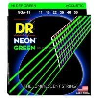 DR STRING NGA-11 | Cuerdas de Guitarra Acústica de Neon Verdes Calibres 11-50