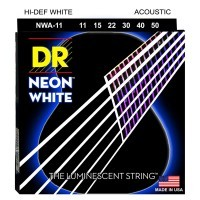 DR STRING NWA-11   Cuerdas de Guitarra Acústica de Neon Blanco Calbires 11-50