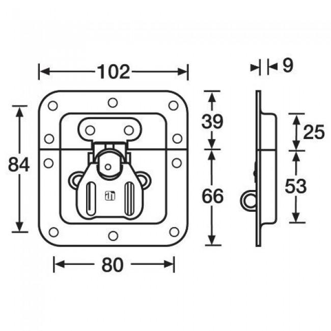 ADAM HALL 17233 | Cierre giratorio de embutir con porta candado