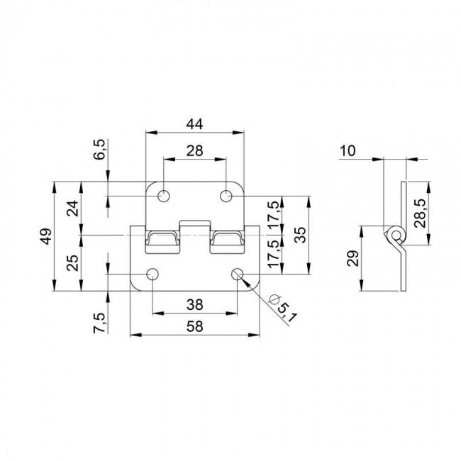 ADAM HALL 2251   Bisagra desmontable para baúl o anvil con traba