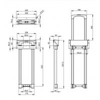 ADAM HALL 3476023 | Asa telescópica escamoteable 1 Extensión, cinc y Base con Paso Perfil longitud 528 - 808 mm