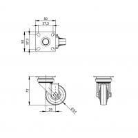 ADAM HALL 3701 | Rueda giratoria 50 mm gris