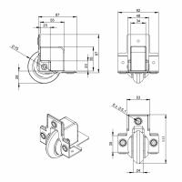 ADAM HALL 37551S | Rueda blanda para Montaje en Ángulo 75 mm