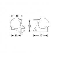 ADAM HALL 4126 | Esquinero bola mediana c/Escuadra 40mm