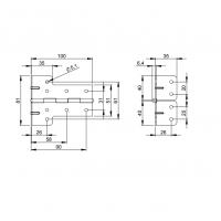 ADAM HALL 2641 | Bisagra en L acero galvanizado