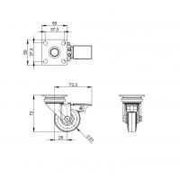 ADAM HALL 3703 | Rueda giratoria 50 mm gris y Freno