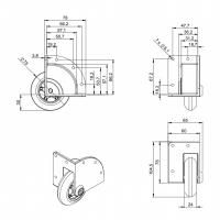 ADAM HALL 37450S | Rueda blanda empotrada para Montaje en Esquina 75 mm