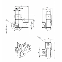 ADAM HALL 37451S | Rueda blanda empotrada para Montaje en Esquina 75 mm