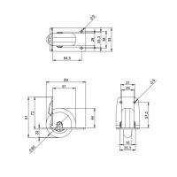 ADAM HALL 3783 | Rueda blanda para Montaje en Ángulo 58 mm Carcasa de plástico